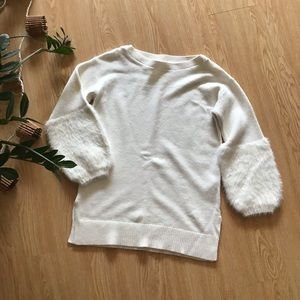 Anthropologie faux fur bubble sleeve sweater